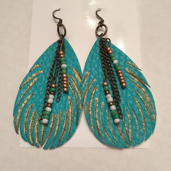 Jewelry - Handmade turquoise feather nickel-free earrings